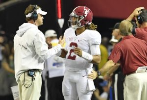 Dec 3, 2016; Atlanta, GA, USA; Alabama Crimson Tide offensive coordinator Lane Kiffin talks with quarterback Jalen Hurts (2) during the second quarter of the SEC Championship college football game at Georgia Dome. Mandatory Credit: Dale Zanine-USA TODAY Sports